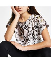 River Island - Snake Print Loose Fit Top - Lyst