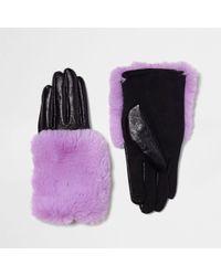 River Island - Purple Faux Fur Trim Leather Gloves Purple Faux Fur Trim Leather Gloves - Lyst