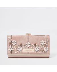 River Island - 3d Flower Embellished Clip Top Purse - Lyst