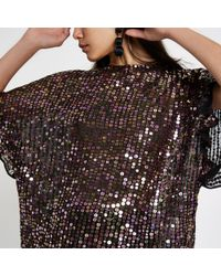 River Island - Sequin Embellished Frill Sleeve Top - Lyst
