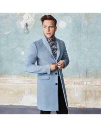 River Island - Olly Murs Blue Overcoat - Lyst
