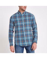 River Island - Blue Check Button-down Shirt - Lyst