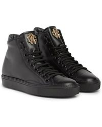Roberto Cavalli - Snake Logo Leather High Top Sneakers - Lyst