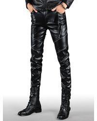 Rosegal Multi Zip Embellished Slim Fit Pu Leather Pants - Black