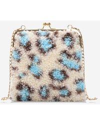 Rosegal Suede Leopard Pattern Chain Shoulder Bag - Blue