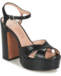 cf9a6a8ce53 Marc Jacobs Lust Embellished Block Heel Platform Sandals in Black - Lyst