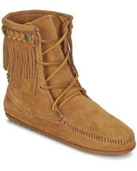 Minnetonka - Double Fringe Tramper Mid Boots - Lyst