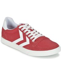 996b1f394f5a Hummel - Ten Star Waxed Canvas Low Women s Shoes (trainers) In Red - Lyst