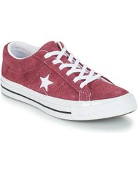 newest collection d0352 2045b Converse - One Star Suede Ox Womens Shoes (trainers) In Red - Lyst