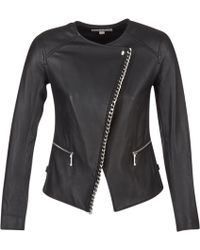MICHAEL Michael Kors - Chain Front Biker Leather Jacket - Lyst