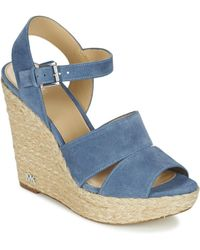 2c1abd4b41a38a Tory Burch Thames Mid-heel Wedge Sandal in Natural - Lyst