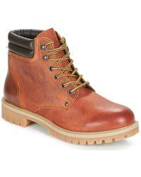 Jack & Jones - Stoke Leather Boot Rust Mid Boots - Lyst