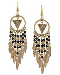 Sparkling Sage - 14k Plated Resin Feather Drop Earrings - Lyst