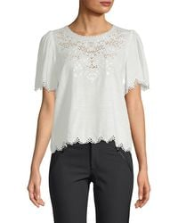 Rebecca Taylor - Amora Embroidered Short-sleeve Top - Lyst