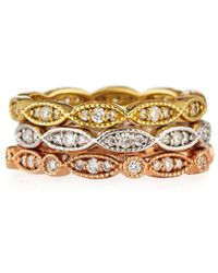 Diana M. Jewels - . Fine Jewellery 18k Tri-tone Set Of Three 0.90 Ct. Tw. Diamond Eternity Rings - Lyst