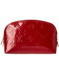 Louis Vuitton - Red Monogram Vernis Leather Cosmetic Pouch - Lyst