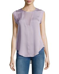 Rebecca Taylor - Charlie Solid Silk Top - Lyst