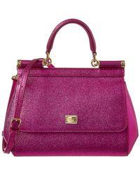 2749c1b64b32 Lyst - Dolce   Gabbana Women s Sicily Leopard Print Leather Top ...