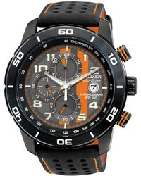 Citizen - Mens Primo Chronograph Watch In Black And Orange - Lyst