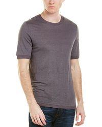 Vince - Sweater-trim Linen T-shirt - Lyst