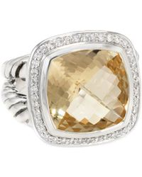 David Yurman - David Yurman Albion Silver 0.34 Ct. Tw. Diamond & Citrine Ring - Lyst