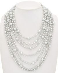 Carolee - Grey Rose Multi-row Necklace - Lyst