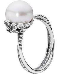 Pandora | Garden Odyssey Silver Pearl & Cz Ring | Lyst