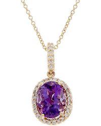 Effy - Fine Jewelry 14k 1.66 Ct. Tw. Diamond & Amethyst Necklace - Lyst