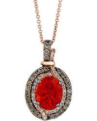 Le Vian - ® Chocolatier® 14k Rose Gold 1.39 Ct. Tw. Diamond & Fire Opal Necklace - Lyst