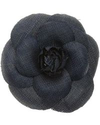 Chanel - Gold-tone & Dark Blue Camellia Floral Brooch - Lyst