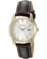 Bulova - Women's Leather Strap Watch - Lyst