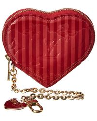 Louis Vuitton - Limited Edition Red Monogram Vernis Leather Rayures Heart Coin Purse - Lyst