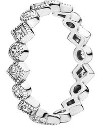 PANDORA - Silver Cz Stackable Ring - Lyst