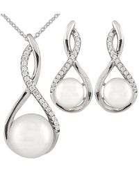 Splendid - Rhodium Plated Silver 8-10mm Freshwater Pearl & Cz Drop Earrings & Necklace Set - Lyst