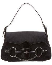 82d7c72f2cb Gucci - Black GG Canvas   Leather Horsebit Shoulder Bag - Lyst