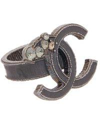 Chanel - Silver-tone Black Enamel Cc Ring - Lyst