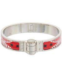 Hermès - Red Printed Enamel Charniere Uni Narrow Bracelet - Lyst