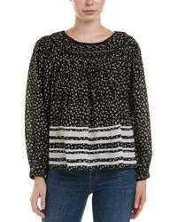 Love Sam - Pleated Printed Washed-crepe Blouse - Lyst