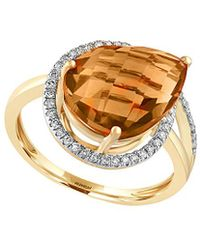 Effy - Fine Jewelry 14k 4.48 Ct. Tw. Diamond & Citrine Ring - Lyst