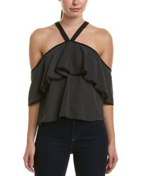 1ef48d845d5803 Lord + Taylor Off-the-shoulder Wrap Top in Black - Lyst