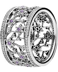 PANDORA - Silver Cz Ring - Lyst