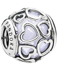 PANDORA - Silver & Opalescent White Crystal Encased In Love Charm - Lyst