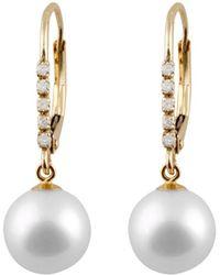Splendid - 14k Diamond & 7-7.5mm Freshwater Pearl Drop Earrings - Lyst