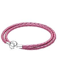 PANDORA Pink & Silver Braided Double Leather Charm Bracelet