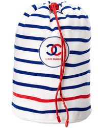 Chanel - Limited Edition Navy Cotton String Bag - Lyst