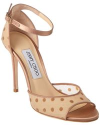 b1069876bade Jimmy Choo Annie 85 Leather Sandal in Metallic - Lyst