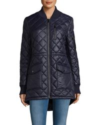 French Connection - Zip Stand Collar Quilted Coat - Lyst