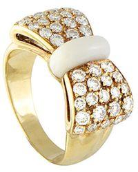 Heritage Van Cleef & Arpels - Van Cleef & Arpels 18k 1.00 Ct. Tw. Diamond & Agate Bow Ring - Lyst