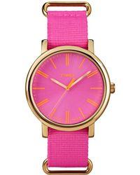 Timex - Womens Pink Weekender Nylon Strap Watch - Lyst