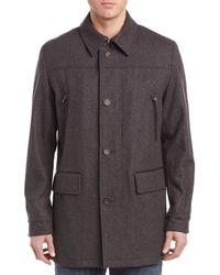 Cole Haan - Wool-blend Leather-trim Coat - Lyst